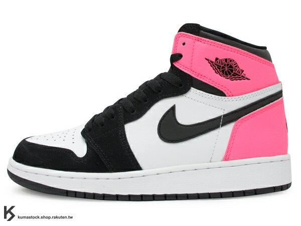 2017 限量發售 1985 年經典復刻款 九孔鞋洞 NIKE AIR JORDAN 1 RETRO HIGH OG GG VALENTINE'S DAY 女鞋 黑白粉紅 3M反光 情人節 愛心 AJ BG GS (881426-009) !