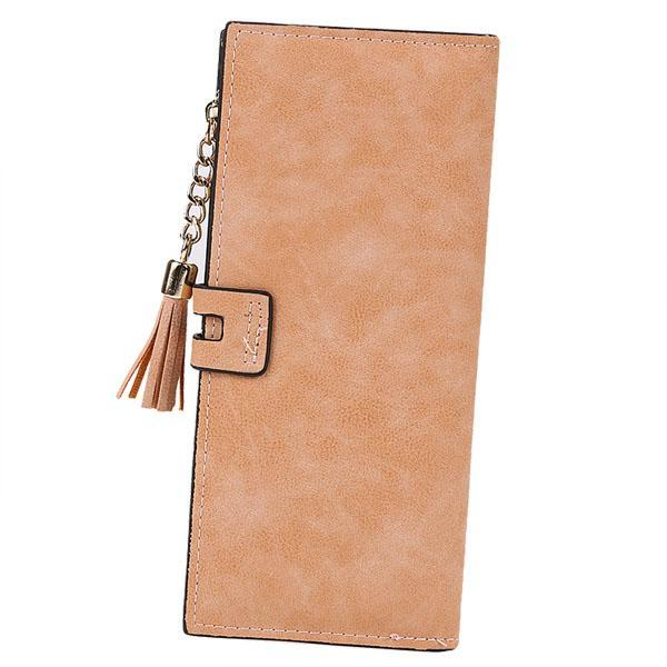 Synthetic Leather Card Holder Long Trifold Wallet Clutch Checkbook Tassel Handbag Purse 4