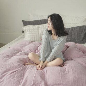 新疆棉薄被套床包組-單人 / Mix&Match系列 /【十字淺紫被套x大格白床包】翔仔居家