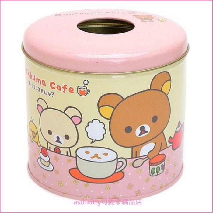 asdfkitty可愛家☆瑕疵出清(稍微撞到有凹痕.不影響使用)-拉拉熊粉色鐵製捲筒衛生紙收納罐-韓國製