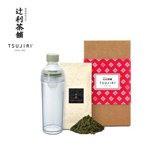 【辻利茶舗 x HARIO】辻光茶道具禮盒 (朝牽),波特保冷泡茶壺400ml+小倉煎茶100g。 0