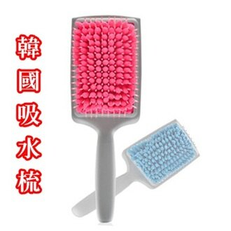 ☆韓國吸水梳-頭皮按摩頭髮速乾美髮用品2色(顏色隨機)73pp127【米蘭精品】