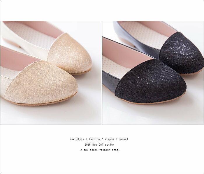 格子舖*【AWA811】MIT台灣製 閃耀流行簡單金蔥拼接皮革 尖頭平底包鞋 娃娃鞋 便鞋 2色 2