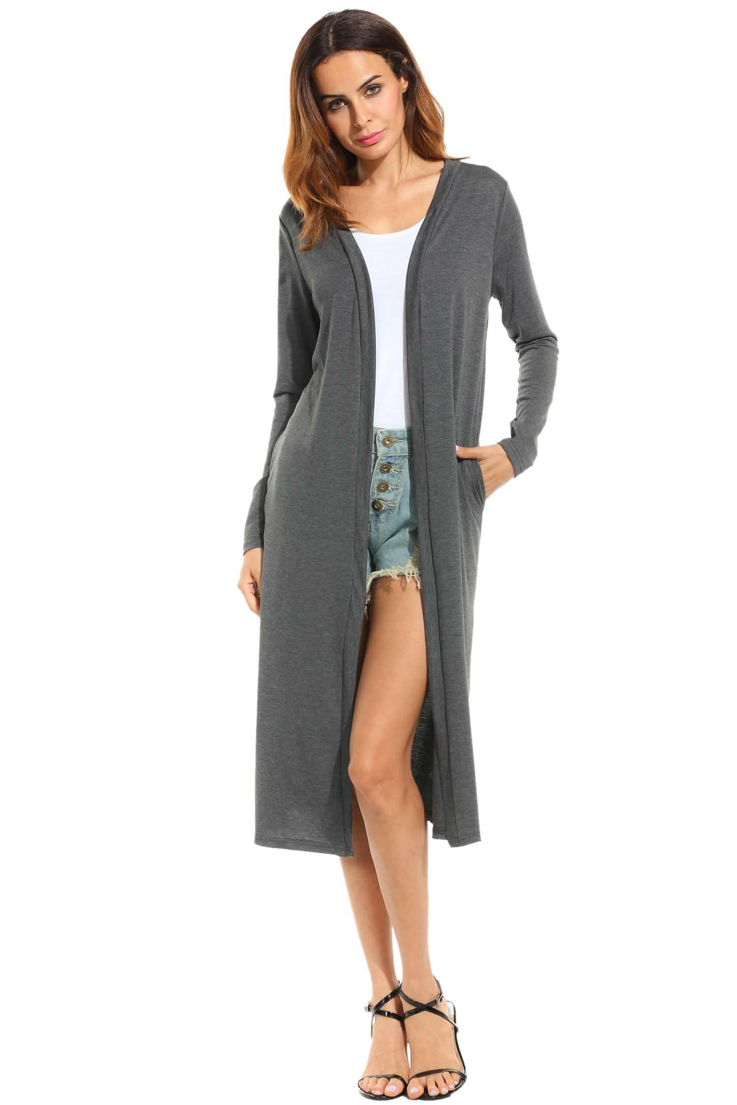 Women Casual Long Sleeve Solid Open Front Slit Long Maxi Cardigan 0