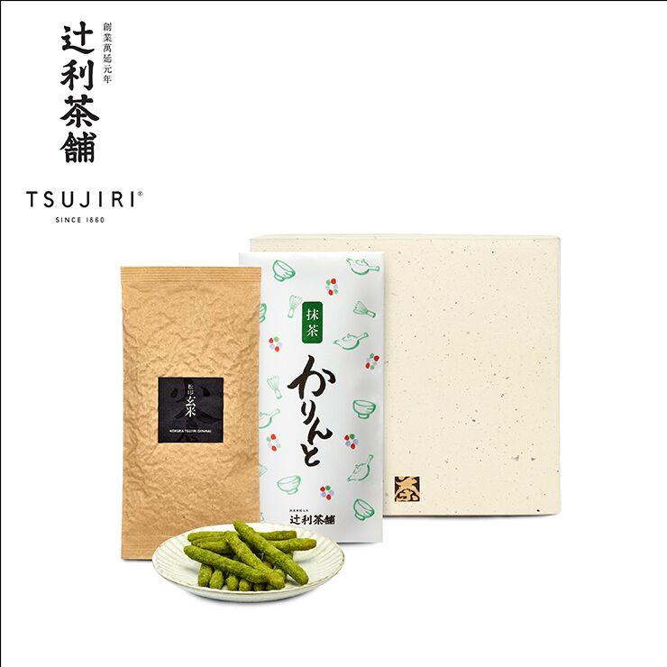 【辻利茶舗】日本茶茶點禮盒(松印玄米茶茶葉+抹茶花林糖)~八女高級綠茶搭配日本國民茶點~送禮自用兩相宜 - 限時優惠好康折扣