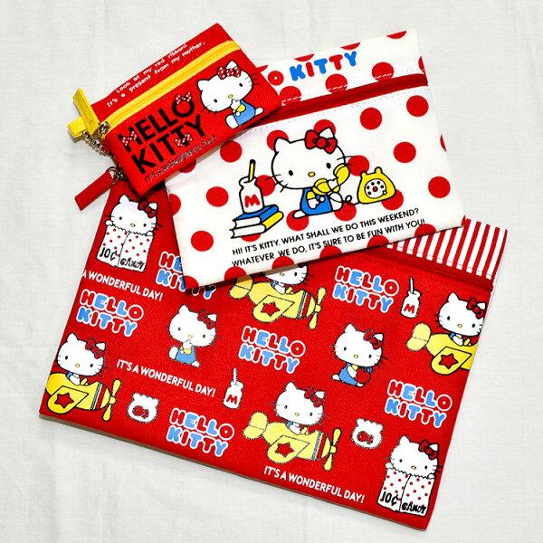 HelloKitty三連包收納包錢包隨身包文件袋日本帶回正版商品
