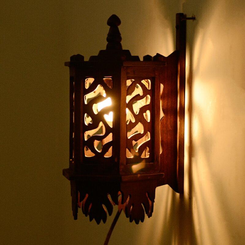 泰國進口泰式實木復古鏤空雕刻客廳壁燈背景墻燈設計師燈臥室壁燈1入
