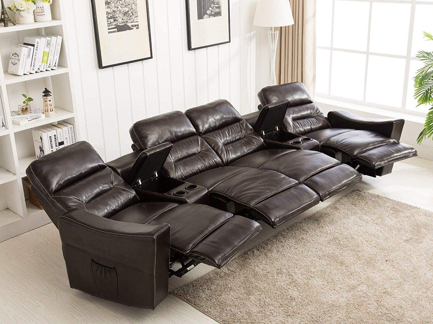 mcombo: MCombo 4-Seat Leather Home Theater Recliner Media Sofa w ...