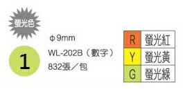華麗牌直徑9mm832張數字螢光圓形標籤(WL-202B)