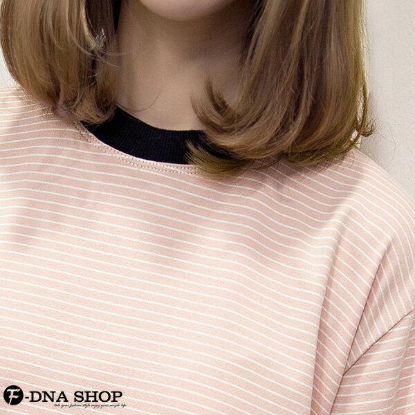 F-DNA★不對襯撞色滾邊縷空袖細條紋短袖上衣T恤(2色-M-2XL)【ETD2269】 3