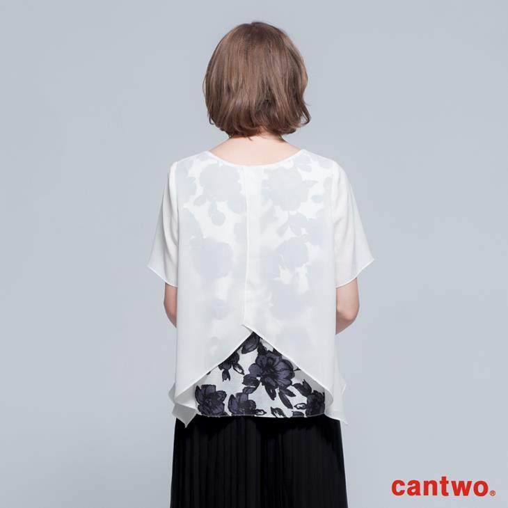 cantwo透視風印花假兩件雪紡上衣(共二色) 3