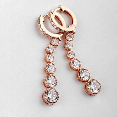 玫瑰金耳環925純銀鑲鑽耳飾~高貴典雅閃耀 七夕情人節 女飾品2色73gs210~ ~~米