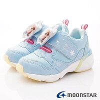 日本Moonstar機能童鞋 冰雪奇緣聯名電燈鞋款 DNC12445藍 (中小童段)-星空嵐-媽咪親子推薦