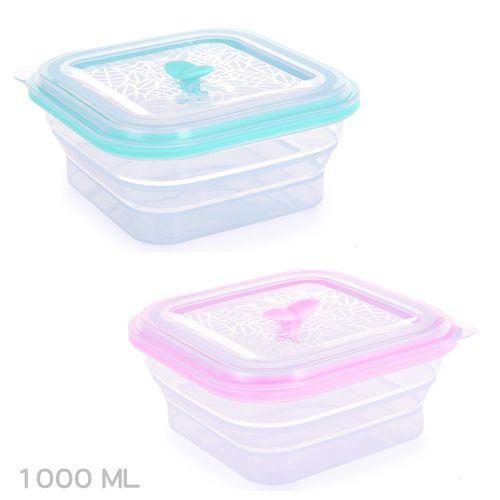 ★衛立兒生活館★Partita 帕緹塔-全矽膠伸縮方型保鮮盒-1000ml(粉色/綠色)