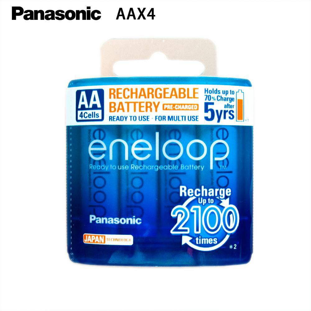 Panasonic 國際牌 eneloop 3號AA 可充2100次, 2000mAh低自放電電池 4入裝送電池盒