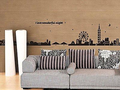 BO雜貨【YV2657】可重複貼 時尚組合壁貼 牆貼 壁貼紙 台北101 摩天輪風景