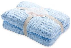 【淘氣寶寶】奇哥 立體格紋柔舒毯(大-100×140公分)(藍色) 【奇哥正品】