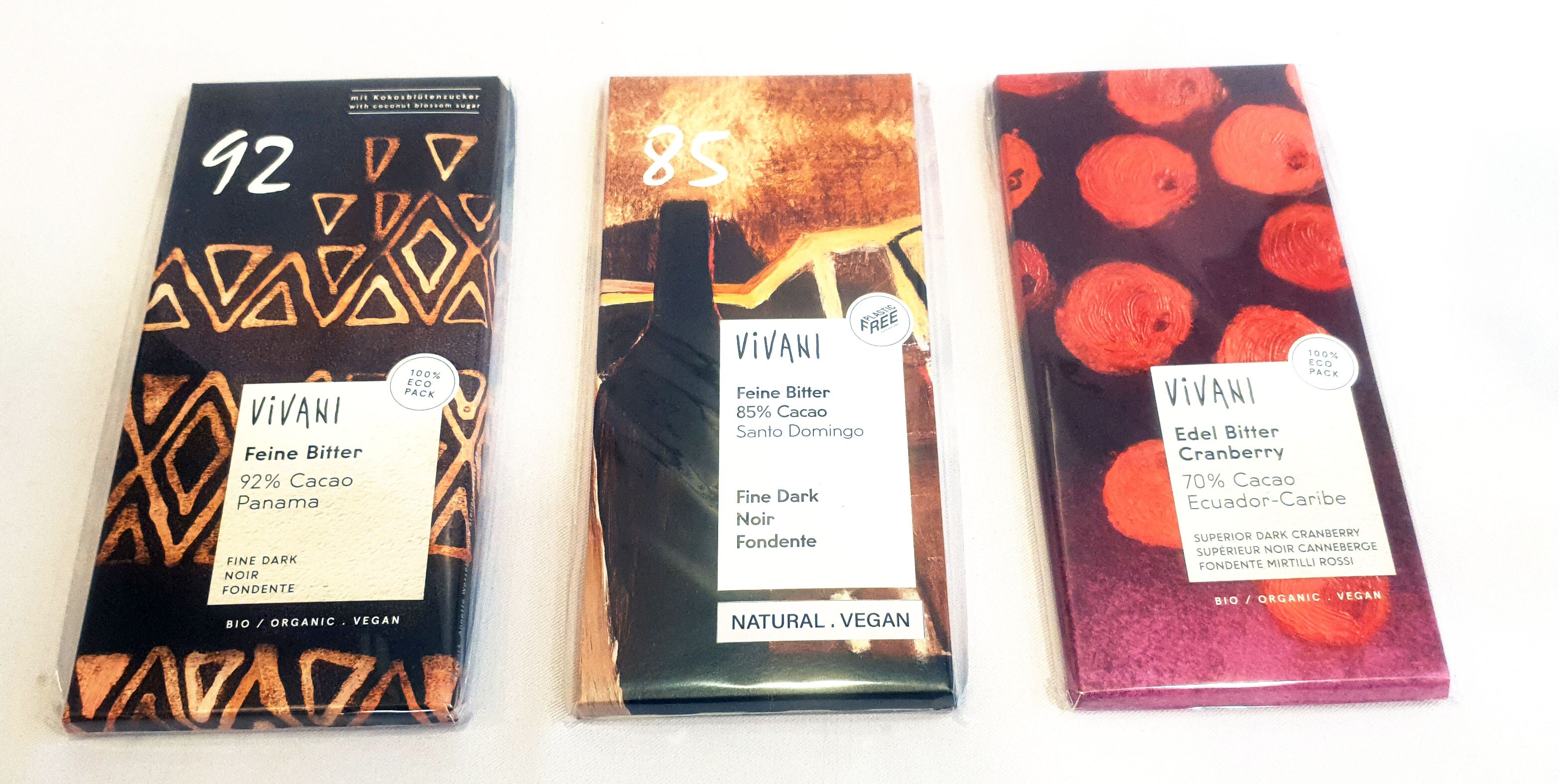 Vivani 巧克力 70%蔓越莓 85%/90%黑巧克力 80(100)公克/片 (德國進口)