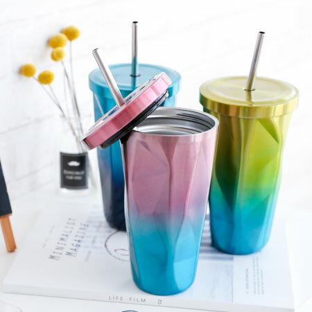 304不銹鋼菱形吸管杯(含不銹鋼吸管)500ml保冷杯保溫杯杯子水杯隨身杯304不銹鋼不鏽鋼環保【N202929】