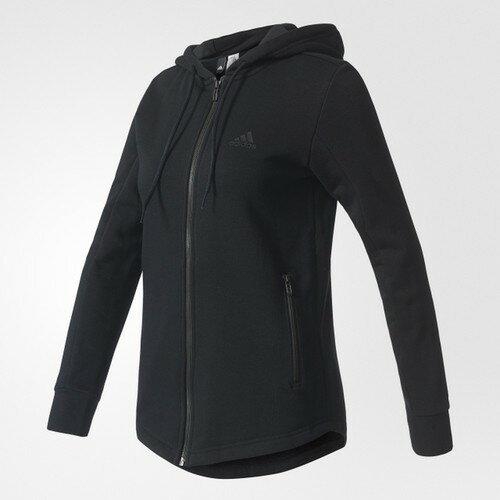 [尋寶趣]Adidas 愛迪達 女款 黑色 連帽外套 大LOGO 運動外套 S97074