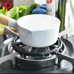【日本珍珠金屬】瓦斯爐縮口鑄鐵輔助爐架(小型鍋壺專用)-直徑14cm