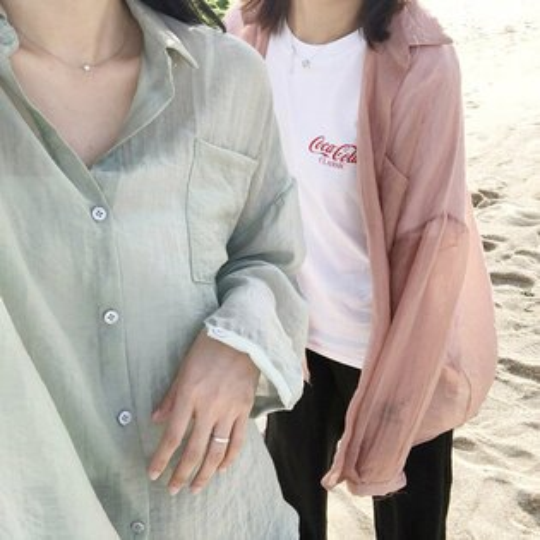 襯衫素色薄款防曬開襟罩衫長袖襯衫【MYKA370_2】BOBI0621