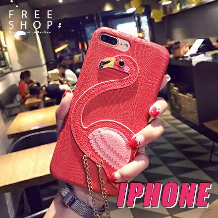 Free Shop:FreeShop蘋果IPHONE67PLUS全系列刺繡火烈鳥荔枝皮質紋鍊條手機殼防摔保護套【QAAGB7125】