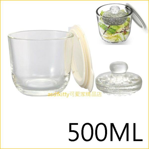asdfkitty可愛家☆HARIO白蓋玻璃醃漬罐泡菜罐保鮮罐-500ML-可微波-日本製