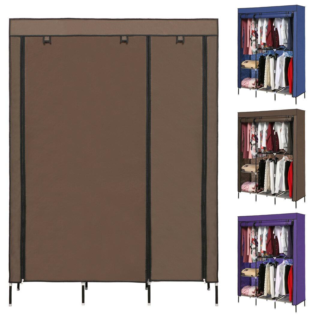 Portable Clothes Closet Wardrobe Double Rod Closet Storage Organizer 0