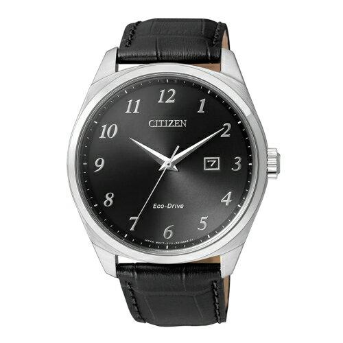 CITIZEN 風格光動能腕錶 黑面x皮帶 BM7320~01E