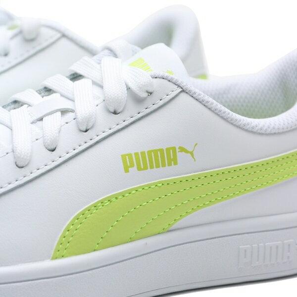 【滿$2500領券現折$350】PUMA 休閒鞋 SMSAH V2 L 白 螢光綠 皮革 基本 女 (布魯克林) 36521526