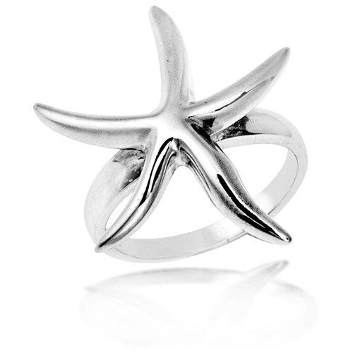 Trendy Shiny Curvy Starfish Sterling Silver Ring 1