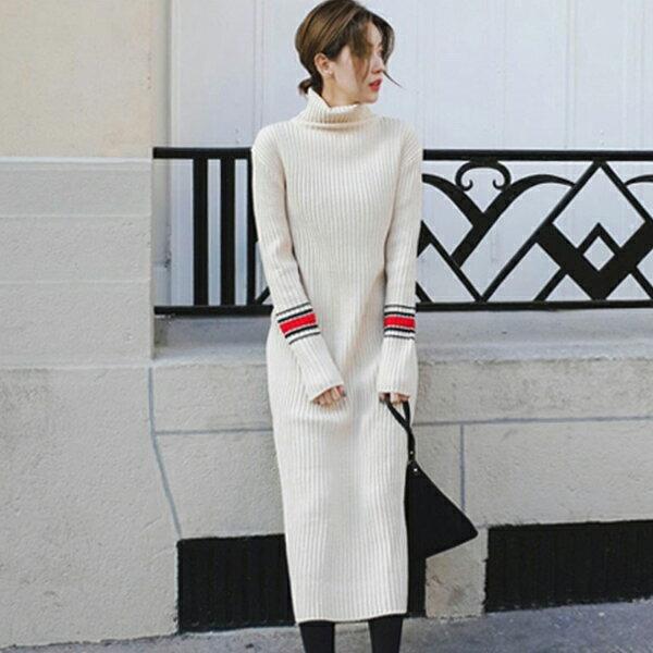 PS Mall 韓版撞色坑條高領針織連身裙 洋裝【T1174】