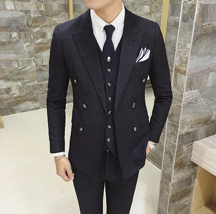 FINDSENSE品牌 韓國男 細條紋 雙排扣 小西裝 修身西裝 西裝外套 單件外套
