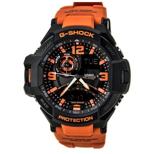 Casio Mens Black Ana-Digi Resin Watch - Orange Resin Strap - Multicolor Dial - GA1000-4A 0