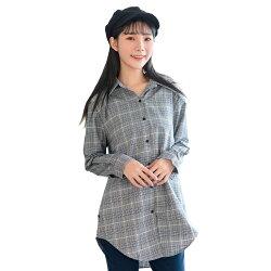 假二件--知性格紋針織背心鈕扣長版長袖襯衫假兩件式上衣(灰.咖XL-3L)-I122眼圈熊中大尺碼