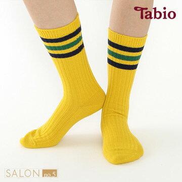 <br/><br/>  【高橋愛X靴下屋聯名款】日本靴下屋Tabio 彩色條紋運動風羅紋中筒短襪<br/><br/>