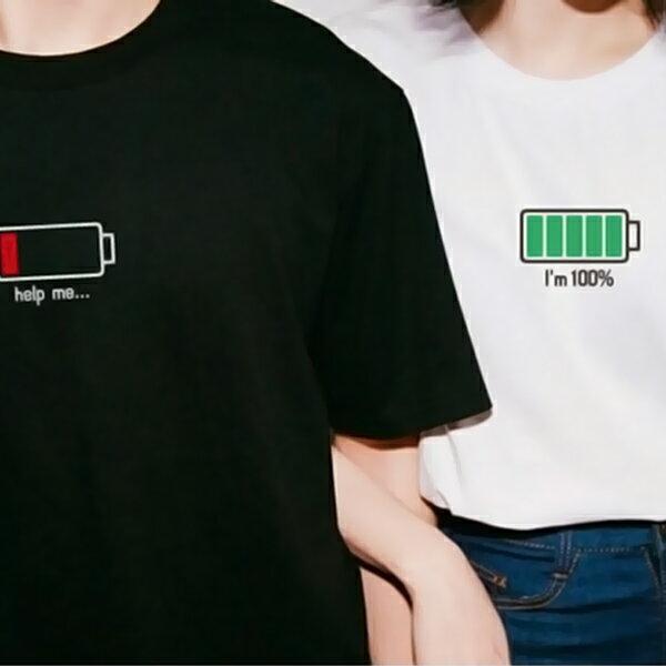 T恤 情侶裝 客製化 MIT台灣製純棉短T 班服◆快速出貨◆獨家配對情侶裝.電池【YC036】可單買.艾咪E舖