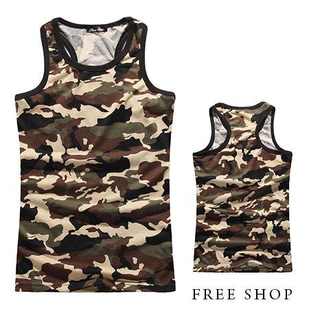 Free Shop【QR73882】日韓系潮流滿版迷彩圖騰軍裝休閒彈性挖背背心迷彩背心 MIT台灣製
