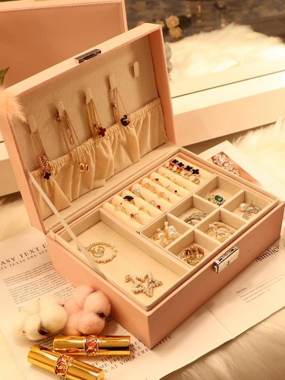 戒指盒 桌面首飾收納盒絨布耳環帶鎖飾品盒大容量網紅耳釘項鏈耳飾展示架