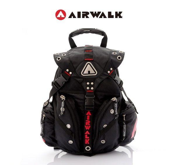 AIRWALK街頭系列-美式潮流三叉釦尼龍後背包(紅)(大容量)