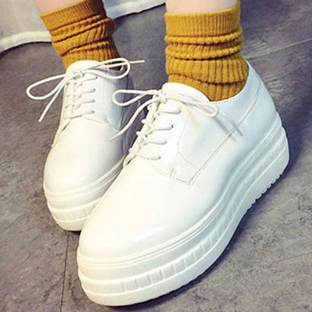 厚底鞋 日系漆皮綁帶圓頭厚底鞋【S1457】☆雙兒網☆ 0