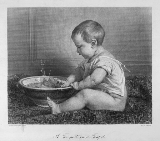 Baby 19Th Century NA Tempest In A Teapot Steel Engraving French 19Th Century After A Painting By Timoleon Lobrichon (1831-1914) Poster Print by (24 x 36)