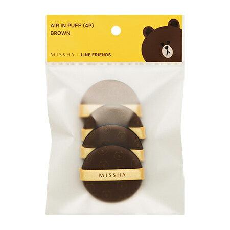 韓國 MISSHA X LINE 聯名款 熊大粉撲補充包^(4入 包^) 氣墊粉餅