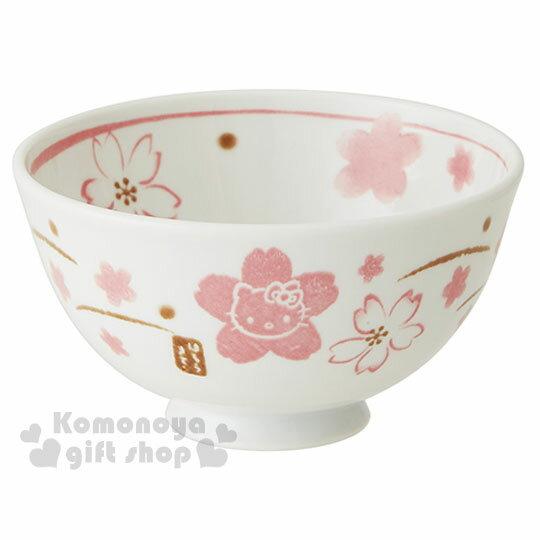 〔小禮堂〕Hello Kitty 日製陶瓷碗《白.大臉.手繪風.櫻花滿版》 0