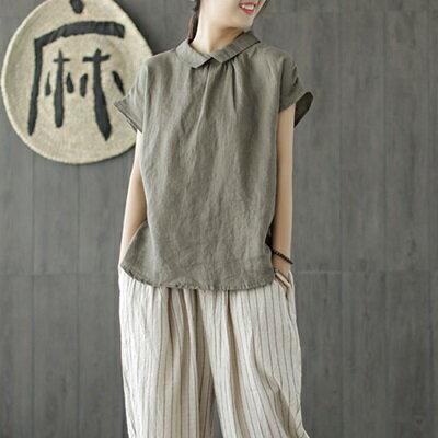 短袖T恤棉麻上衣-簡約純色翻領休閒女上裝4色73tb2【獨家進口】【米蘭精品】