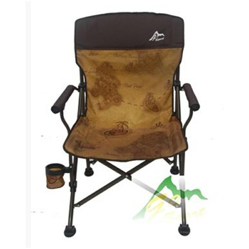 【露營趣】中和安坑 GO SPORT 91985-Map 熱遮蘭中背椅 附杯架 休閒椅 摺疊椅 導演椅 沙灘椅 釣魚椅 大川椅