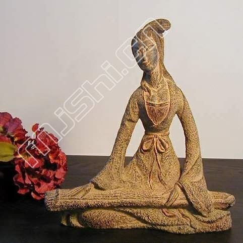 現代中式 飾品擺件  復古 撫琴侍女