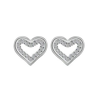 ~925純銀耳環鑲鑽耳飾~簡約 心形 母親節生日情人節 女飾品73dm179~ ~~米蘭