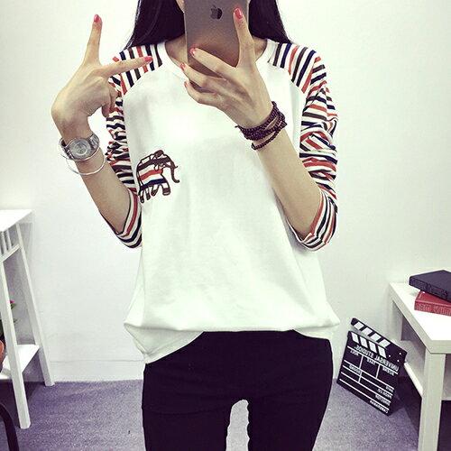 [零碼現貨出清] 條紋拼接純棉T恤 (2色,M~2XL) - ORead 自由風格
